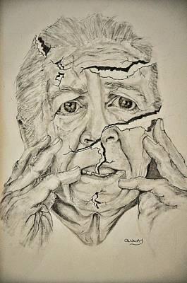 Drawing - Lady Falling Apart by Glenn Calloway