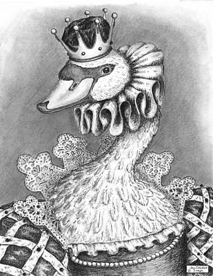 Black And White Fairy Drawing - Lady Featherly Of Lakeworth by Adam Zebediah Joseph
