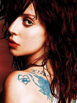 Painting - Lady Gaga Blue Tattoo Close Up by Tony Rubino