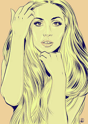 Yellow Wall Art - Drawing - Lady Gaga by Giuseppe Cristiano