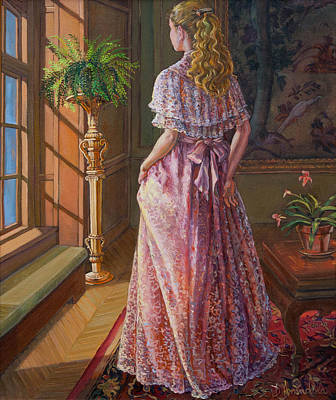 Figures Painting - Lady Gazing Through The Window by Dominique Amendola