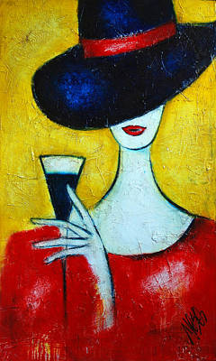 Abstract Art Painting - Lady In A Black Hat by Nebojsa Jovanovic NESAART