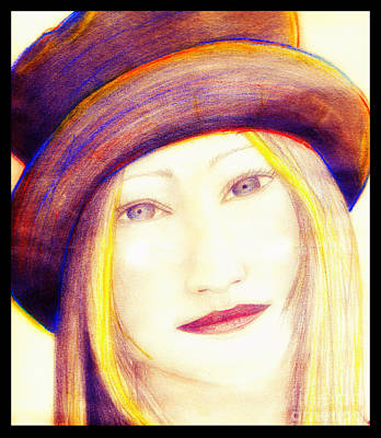 Mixed Media - Lady In A Hat by Angie Staft