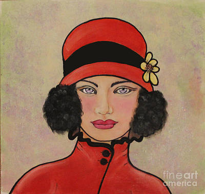 Lady In A Red Hat Art Print