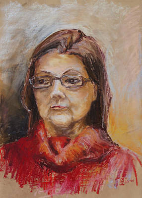 Drawing - Lady In A Red Pullover by Barbara Pommerenke