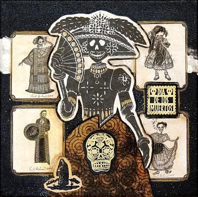 Folk Art Mixed Media - Lady In Black by Candy Mayer
