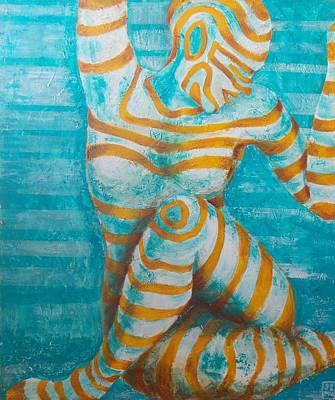 Painting - Lady In Blue by Seemab Zaheera