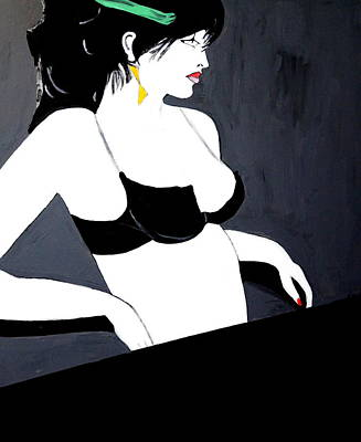 Art Print featuring the painting Lady In Bra by Nora Shepley
