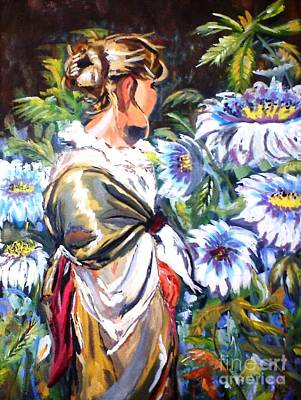 Painting - Lady In Garden by Jyoti Vats