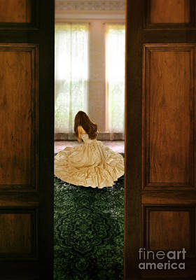 Bridal Gown Photograph - Lady In Gown Crying On The Floor by Jill Battaglia