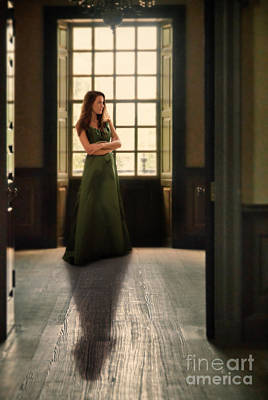 Lady In Green Gown By Window Art Print by Jill Battaglia