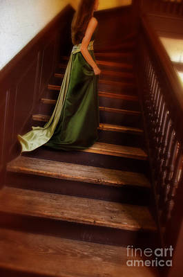 Photograph - Lady In Green Gown On Stairs by Jill Battaglia