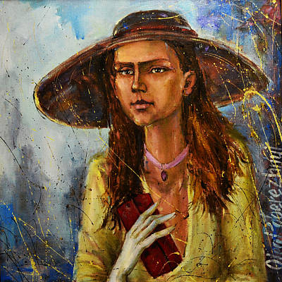 Lady In Hat Art Print by Oleg  Poberezhnyi