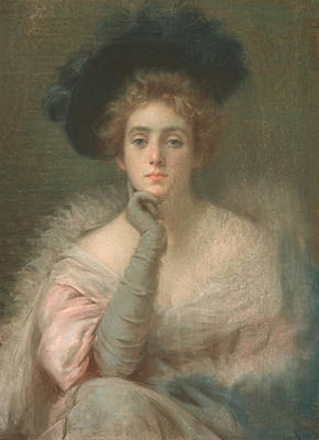 Long Gloves Painting - Lady In Pink by Joseph W Gies