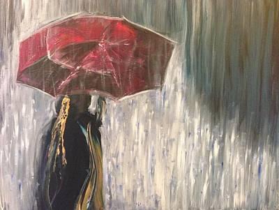 Lady In Rain Art Print