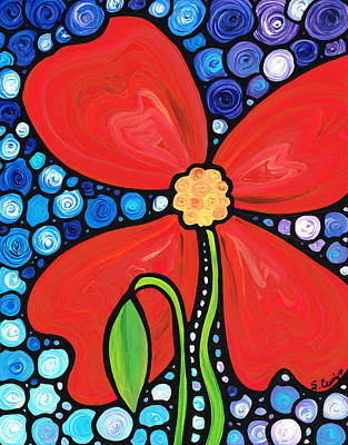 Nature Abstract Painting - Lady In Red 2 - Buy Poppy Prints Online by Sharon Cummings