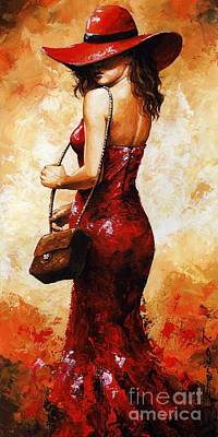 Lady In Red  30 Art Print by Emerico Imre Toth