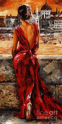 Colored Painting - Lady In Red  34 -  I Love Budapest by Emerico Imre Toth
