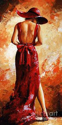 Lady In Red  39 Art Print by Emerico Imre Toth