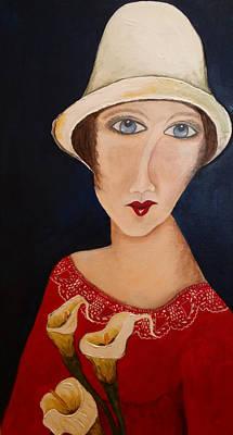 Arum Lily Painting - Lady In Red by Annakie Jordaan