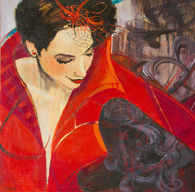 Lady In Red Art Print by Jennifer Croom