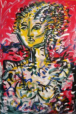 Dama Painting - Lady In Red Room by Jimmy Longoria