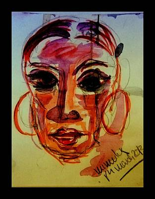 Lady In Red Drawing - Lady In Red - Silent Tears by Mimulux patricia no No