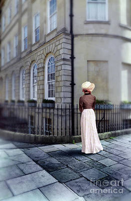 Photograph - Lady In Regency Clothing On Sidewalk by Jill Battaglia