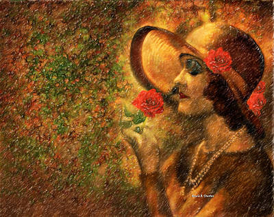 Lady In The Flower Garden Art Print by Angela A Stanton