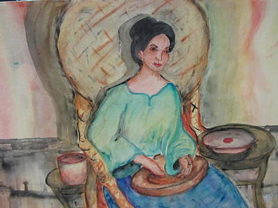 Bamboo Chair Painting - Lady In The Philippines by Lucille  Valentino