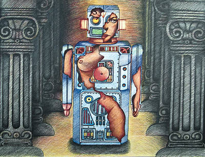 Prismacolor Drawing - Lady In The Robot by Larry Butterworth