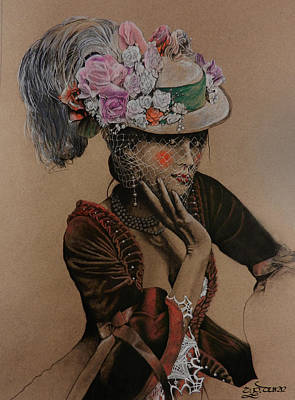 Drawing - Lady In Waiting by TP Dunn