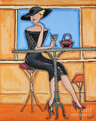 Painting - Lady In Waiting With Martini by Cynthia Snyder