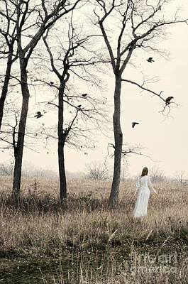 Bird Woman Falls Photograph - Lady In White In Autumn Landscape by Jill Battaglia