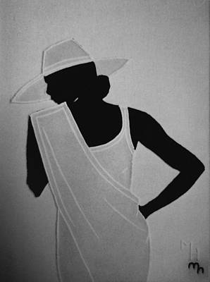 Stiched Relief - Lady In White by Marie Halter