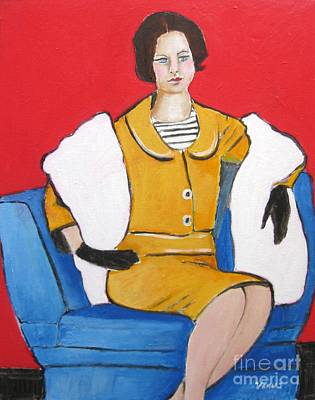Portrait Painting - Lady In Yellow by Venus