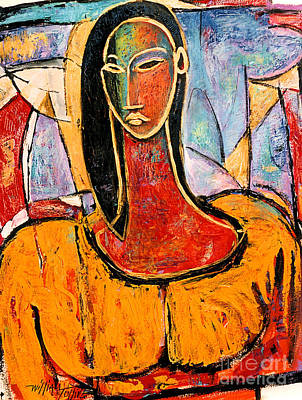 Lady In Yellow Art Print by William Tolliver