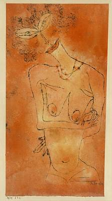 Cardboard Drawing - Lady Inclining Her Head by Paul Klee