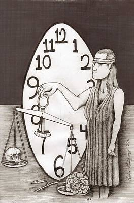 Lady Justice And The Handless Clock Art Print