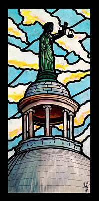 County Courthouse Statue Painting - Lady Justice by Jim Harris