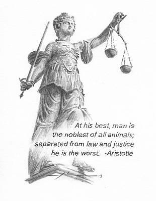 Justice Painting - Lady Justice Statue Pencil Portrait by Mike Theuer