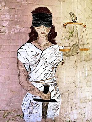 Photograph - Lady Justice Wall Painting by Janice Drew