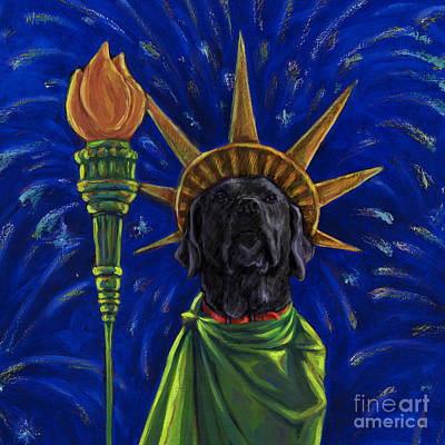 Lady Liberty - Black Art Print by Kathleen Harte Gilsenan