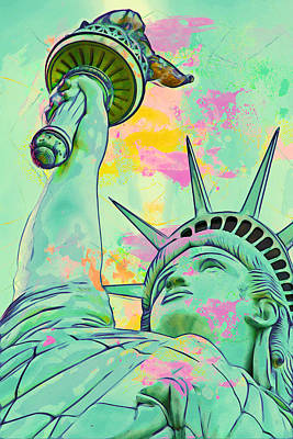Black Lady Digital Art - Lady Liberty by Celestial Images