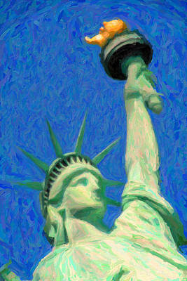 Cities Drawings - Lady Liberty by Celestial Images