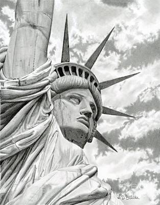 City Art Drawing - Lady Liberty  by Sarah Batalka