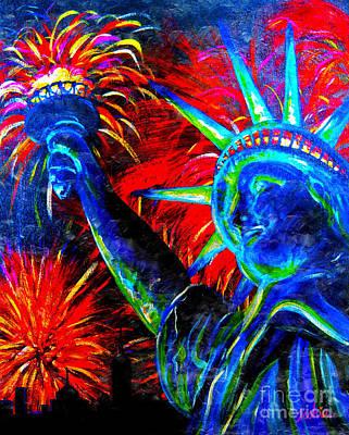Statue Of Liberty Painting - Lady Liberty by Teshia Art