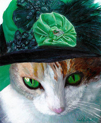 Lady Little Girl Cats In Hats Art Print