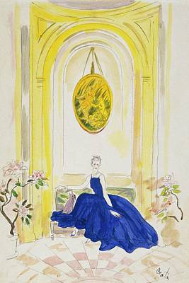 Lady Mendl Wearing A Blue Dress Art Print by Cecil Beaton