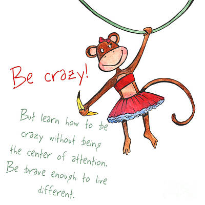 Lady Monkey With Banana Poster Be Crazy Original